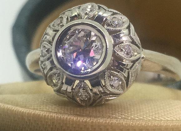 18K White Gold & 0.35ct Old-European Cut Diamond Cluster Ring