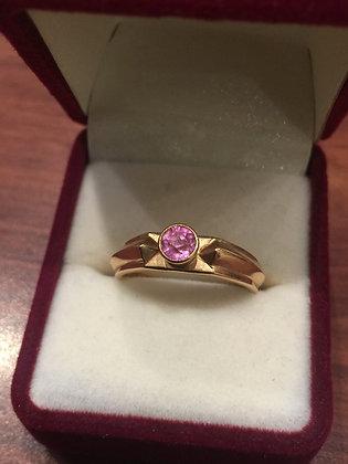 14K Rose Gold & Tourmaline Russian Vintage Ring