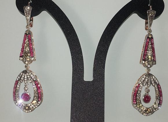 Gold & Silver Ruby & Rose Cut Diamond Chandelier Earrings