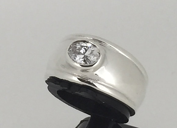 Sterling Silver ring set with Oval Cubic Zirconia
