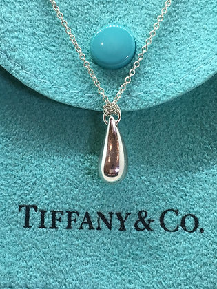 "Elsa Peretti Tiffany & Co. Sterling Silver Tear Drop ""Bean"" Pendant"