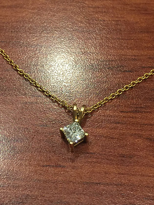 0.40ct Princess Cut Diamond Pendant in 18K Rose Gold