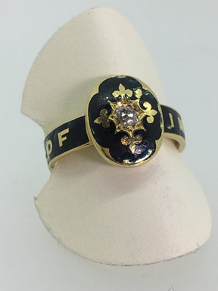 18ct Gold, Black Enamel & Diamond Memorial Ring, c1884.