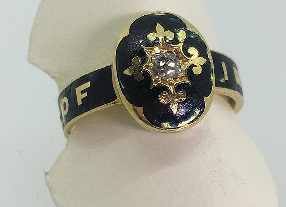 18ct Gold, Black Enamel & Diamond Memorial Ring, c1884.