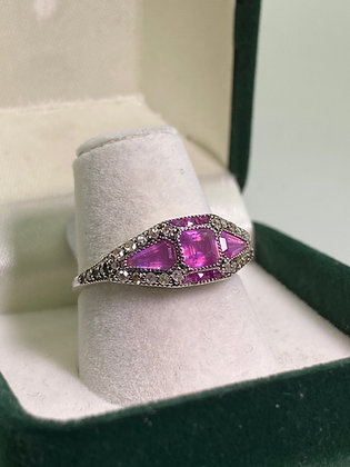 Vintage Ruby & Rose Cut Diamond Ring in Silver Gilt