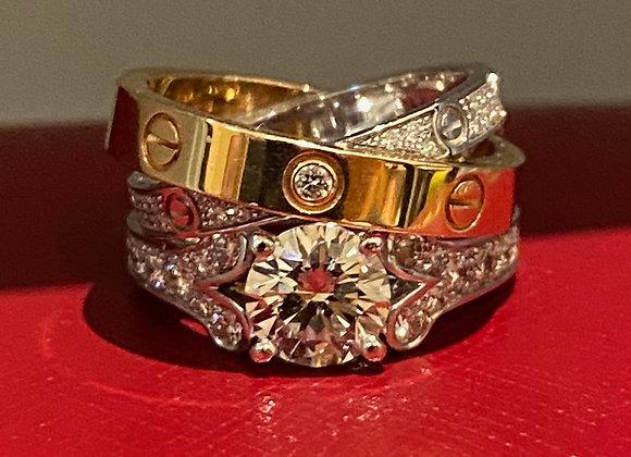 Cartier Wedding Set:Ballerine Diamond Engagement Ring & Cartier Love Double Band