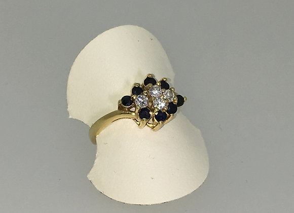 Gold, Sapphire & Diamond Cluster Ring in Floral Motif