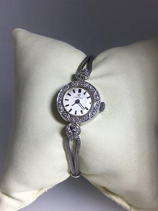18K White Gold/Diamond Omega Vintage Dress Ladies Watch