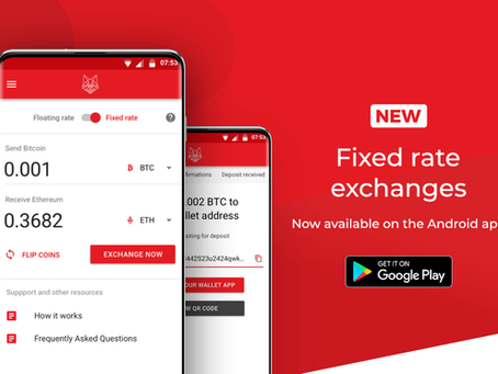 fox.exchange Android App Update: Fixed Exchange Rates!