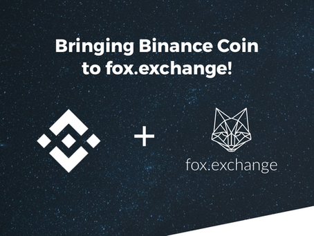 Introducing Binance Coin on fox.exchange!