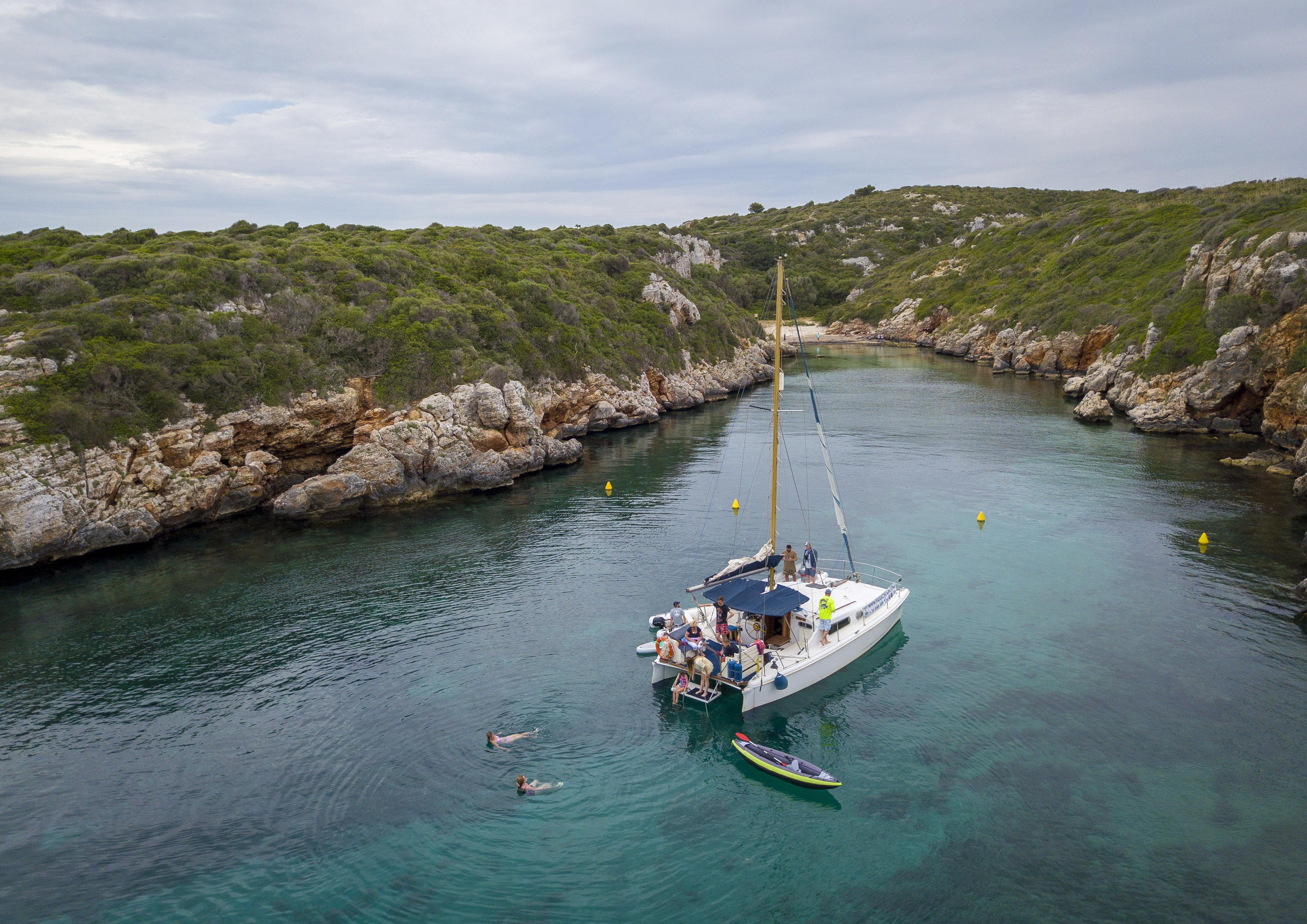 Catermaran in a Menorcan cove