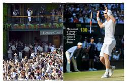 Andy Murray celebrates 2013 Wimbledon win