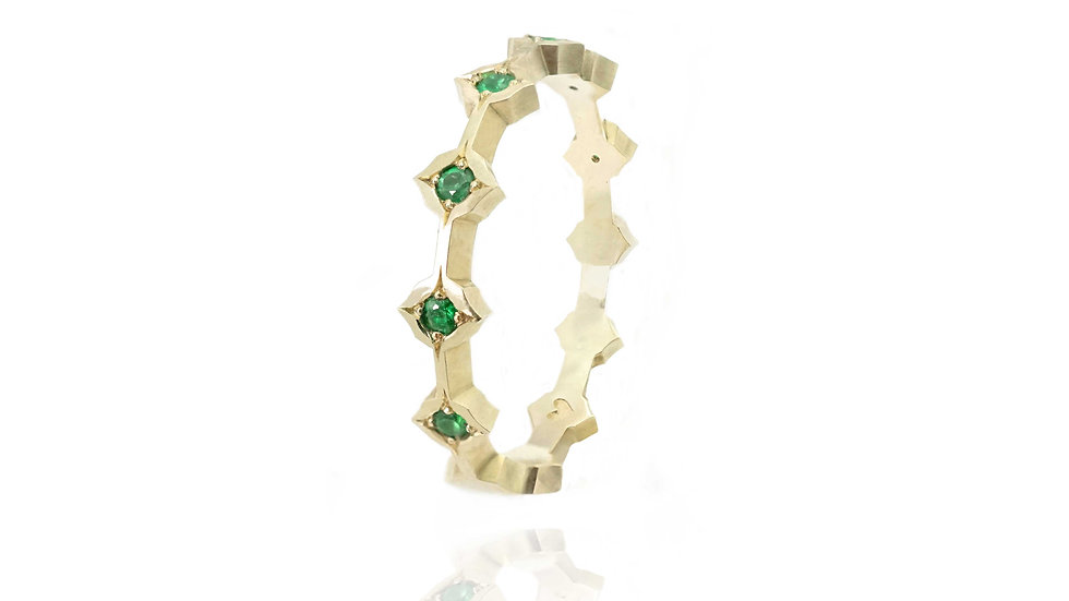 Queen of Life Band with emeralds