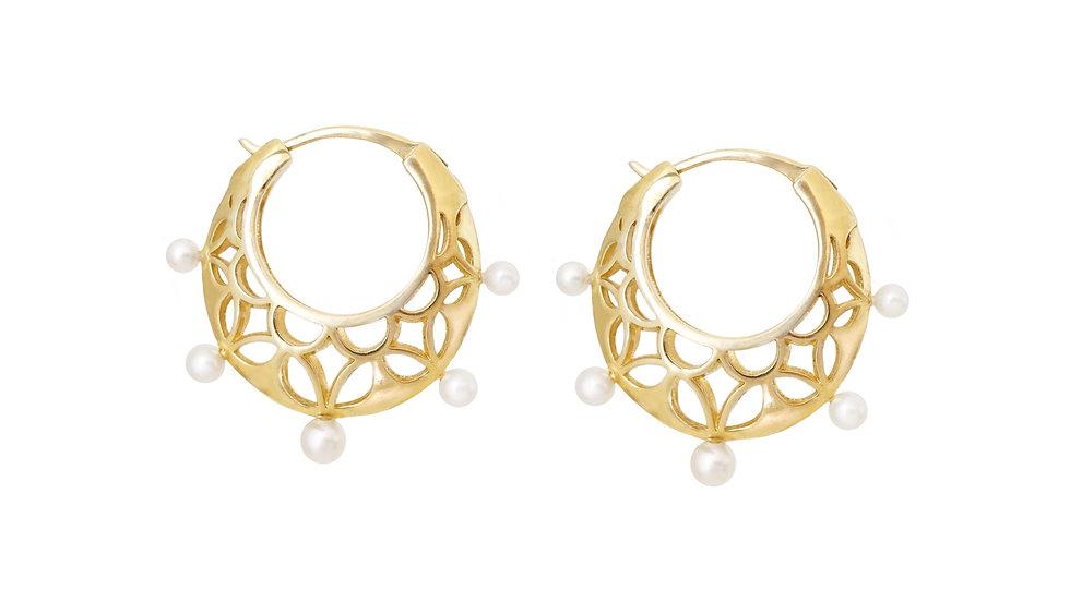 Queen of Diamonds_ Medium Brave Hoops with Pearls