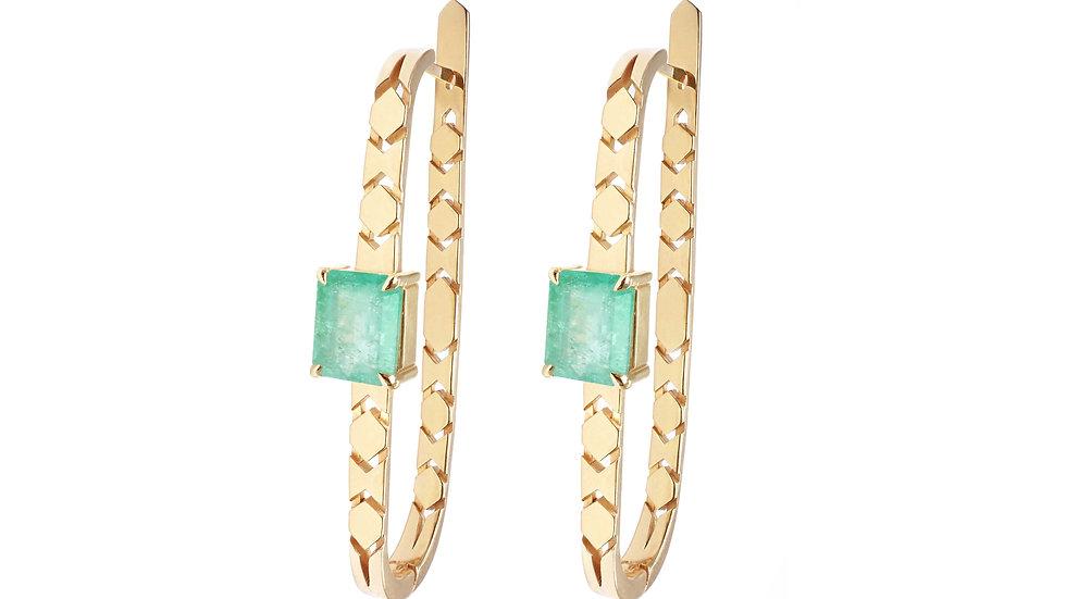 Shooting Star earrings hoop earrings with emeralds