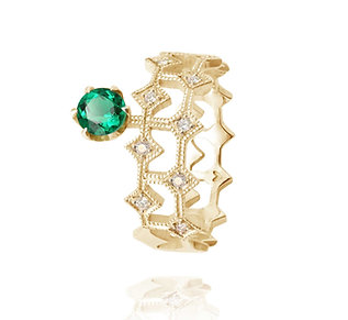 Queen of Life Ring with side stone_ emerald