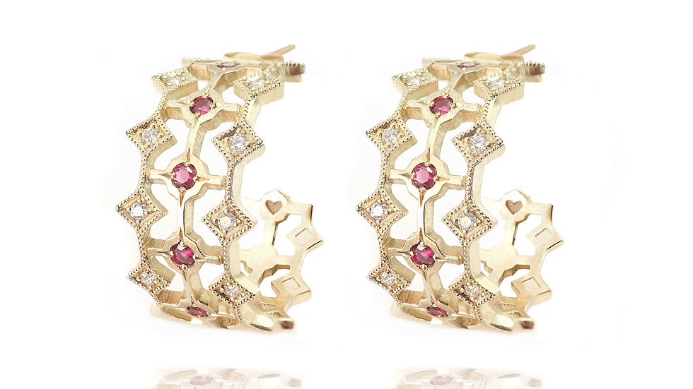 Queen of Hearts earring_ rubies & diamonds
