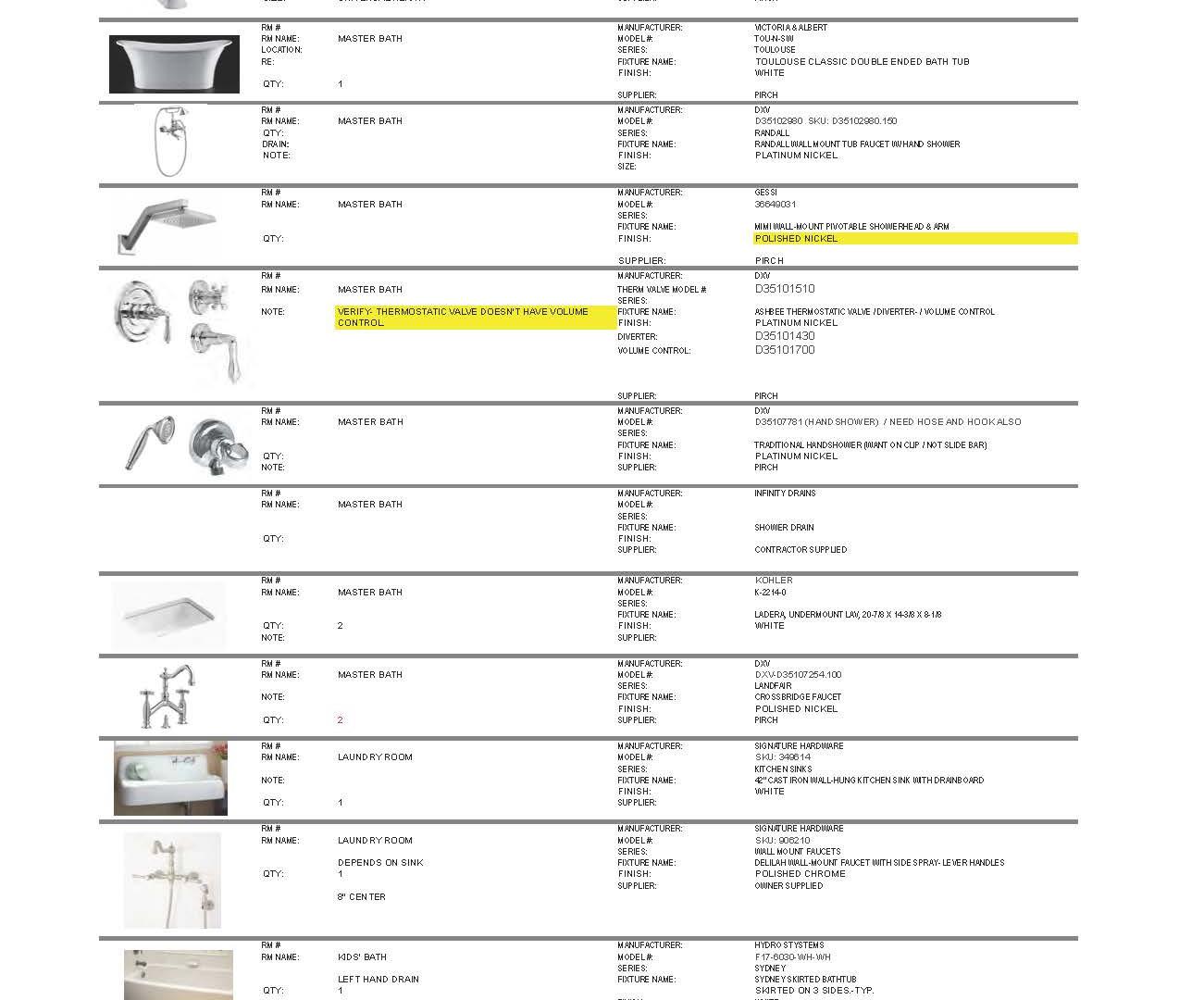 Example Plumbing Schedule