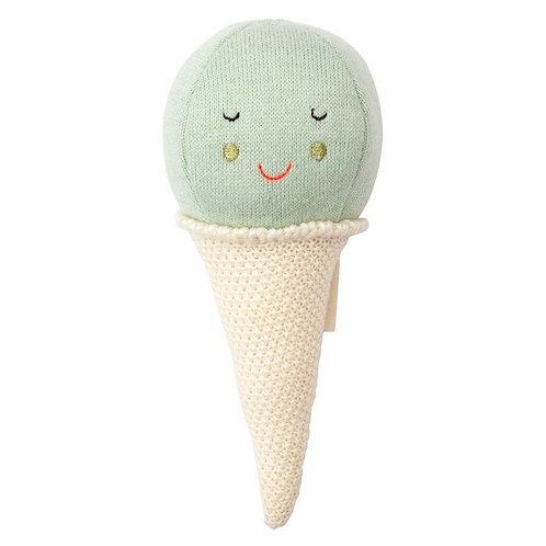 Meri Meri Hochet bébé glace mint tricoté bio