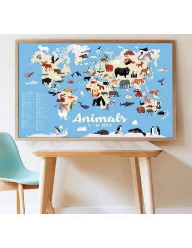 Poppik Poster en stickers Animaux du Monde