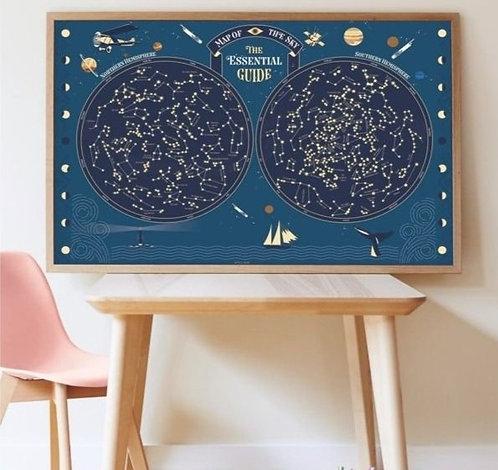 Poppik Poster en stickers Carte du Ciel