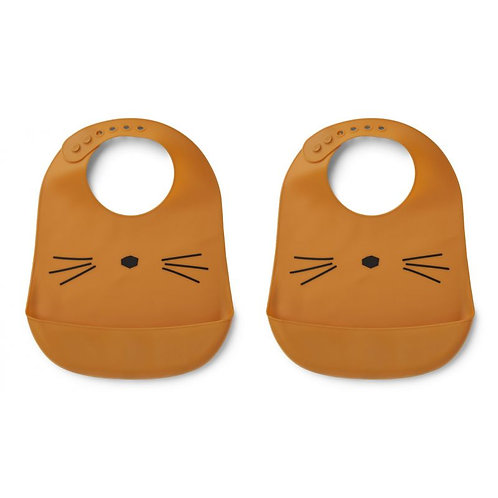 Liewood Lot de 2 bavoirs silicone Tilda Chat Moutarde