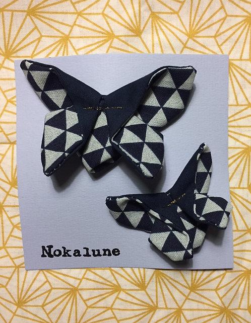 Duo Barrette Mère-Fille triangle bleu Marlias Nokalune