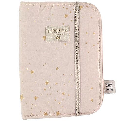 Nobodinoz Protège Carnet de Santé Poema Gold stella Dream pink