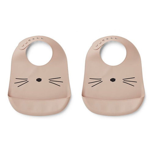 Liewood Lot de 2 bavoirs silicone Tilda Chat Rose