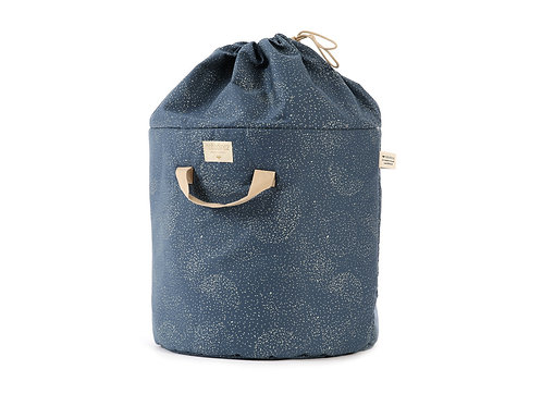 Nobodinoz Sac de jouets Bamboo White Bubble Night Blue