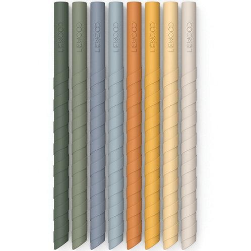 Liewood lot de 8 pailles en silicone réutilisables Zoe Bleu Multi Mix