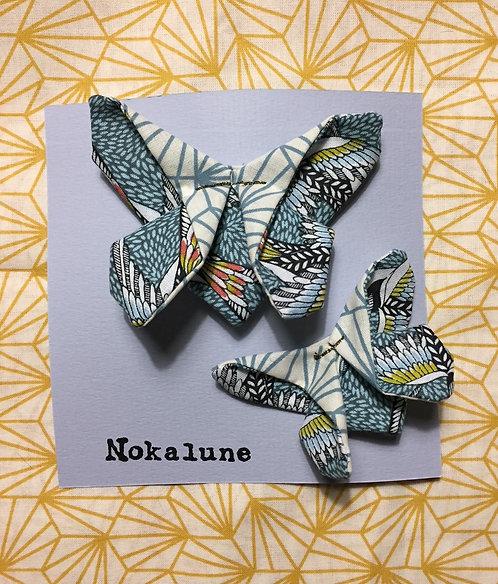 Duo Barrette Mère-Fille Papillon bleu Elodine Nokalune