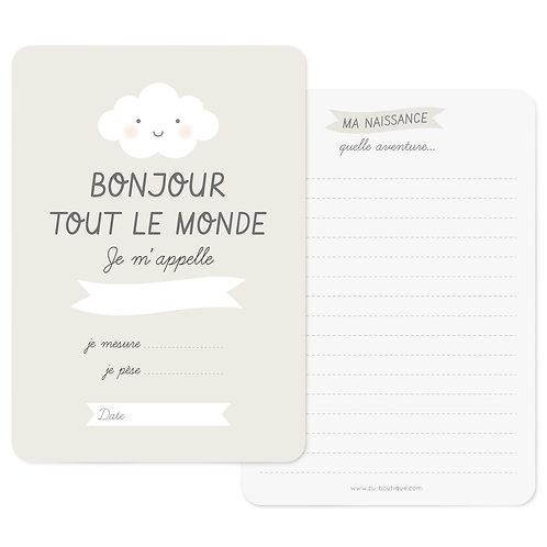Zü Carte naissance Bonjour Zü
