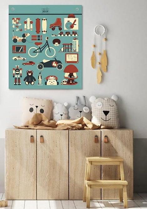 Les jolies Planches Planches Affiche déco des jouets retro 70*80 cm