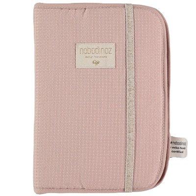 Nobodinoz Protège Carnet de Santé Nid d'abeille coton bio rose Misty pink