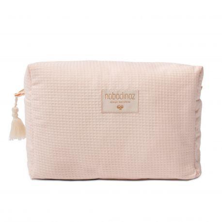 Nobodinoz Trousse de toilette Diva en coton bio Rose dream pink