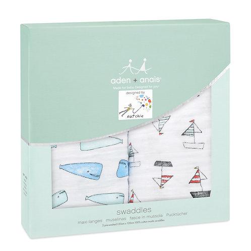 Langes Aden + Anais Whales + Boats  Pack de 2