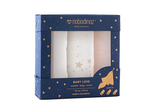 Nobodinoz boite 3 Langes bébé Baby love Rose