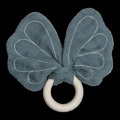 Anneau de dentition Papillon Fabelab en coton bio Bleu