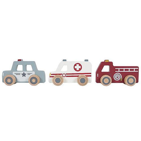 Little Dutch trio de voitures de secours en bois
