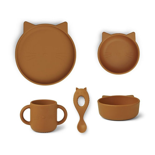 Liewood Set Repas en silicone Vivi Chat Moutarde