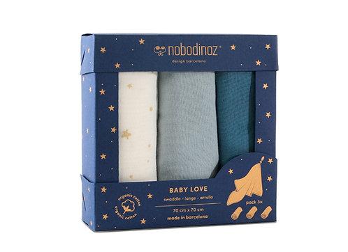 Nobodinoz boite 3 Langes bébé Baby love Night Blue