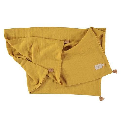 Couverture d'été Nobodinoz Treasure Yellow farniente Moutarde