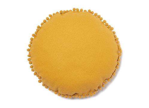 Nobodinoz Coussin rond Sunny Pompon Farniente Yellow