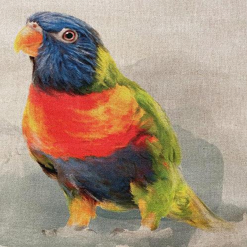 Rainbow Parrot Linen Panel