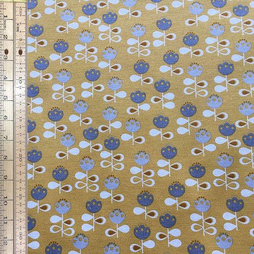 Gold Flowers Cotton Linen