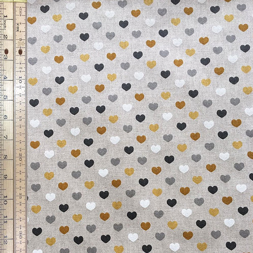 Gold Hearts Cotton Linen