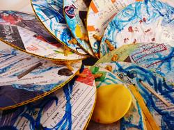 Gathered detritus, paint
