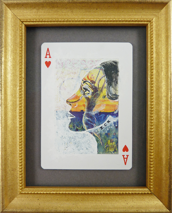 Paint on playing card