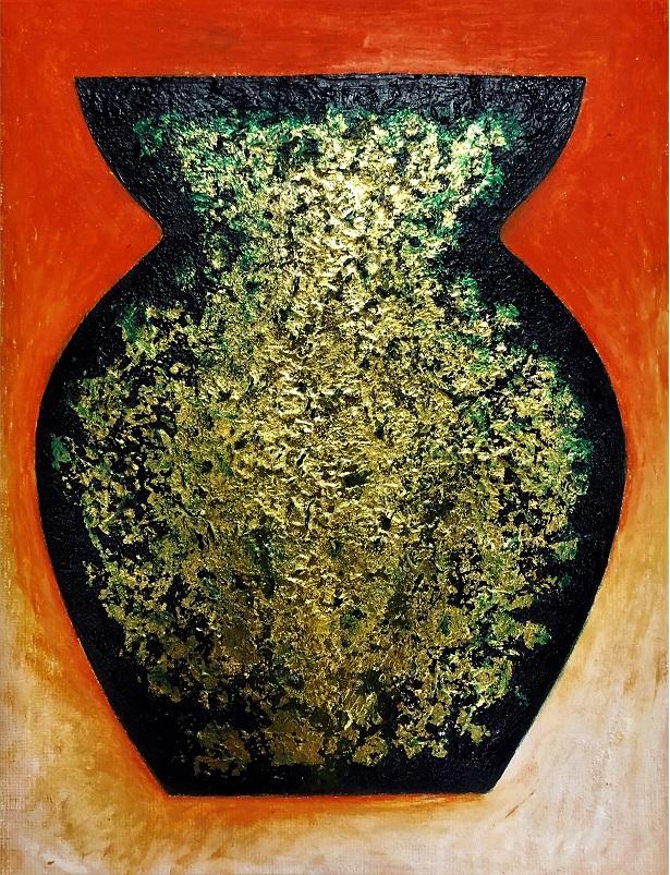 Acrylics, pastels, gold leaf